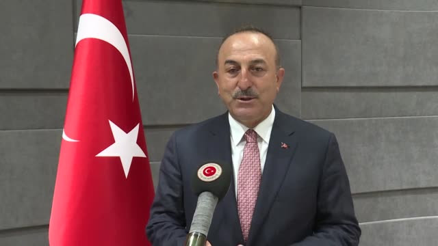 turkish foreign minister mevlut cavusoglu speaks on un's selecting turkish diplomat for general assembly chief on june 17 2020 in istanbul the un... - 大臣点の映像素材/bロール