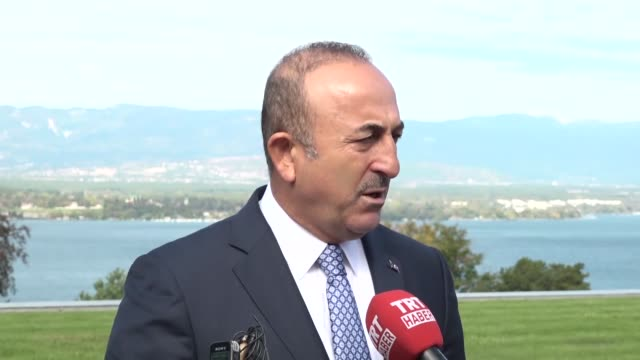 "Turkish Foreign Minister Mevlut Cavusoglu speaks to journalists after a meeting on ""Strategic Dialogue in the Western Balkans"" at the World Economic..."