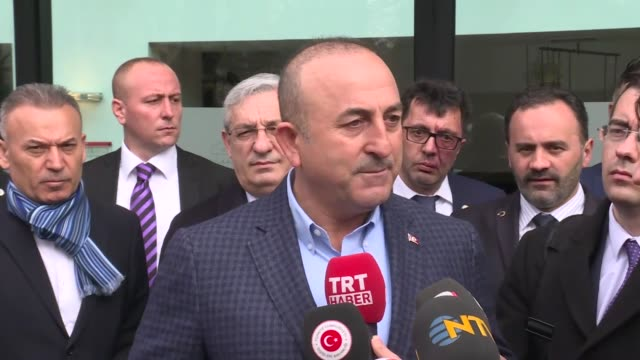 turkish foreign minister mevlut cavusoglu speaks to media in metz france on march 12 2017 turkish foreign minister said sunday turkey's reprisals... - metz stock videos & royalty-free footage
