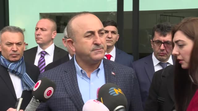 turkish foreign minister mevlut cavusoglu speaks to media in metz france on march 12 2017 turkish foreign minister said sunday turkey's reprisals... - metz stock videos and b-roll footage