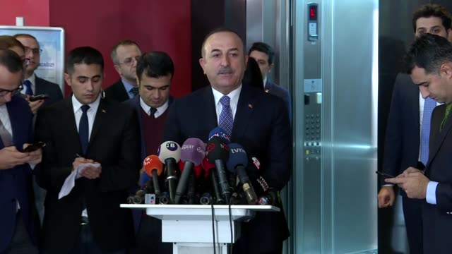 turkish foreign minister mevlut cavusoglu speaks to reporters after a meeting with main opposition republican people's party leader kemal... - other stock videos & royalty-free footage