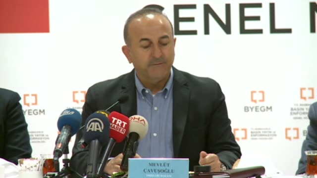 turkish foreign minister mevlut cavusoglu speaks to the journalists in antalya southern turkey on april 09 2017 turkey's foreign minister said sunday... - mediterranean turkey stock videos and b-roll footage