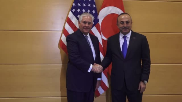 Turkish Foreign Minister Mevlut Cavusoglu speaks to the media and holds a bilateral meeting with US Secretary of State Rex Tillerson on the sidelines...