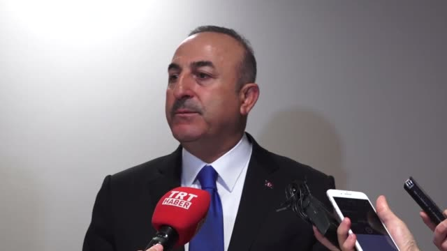 Turkish Foreign Minister Mevlut Cavusoglu speaks to the press after EUOIC meeting Brussels Belgiun on April 26 2018