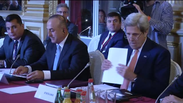 Turkish Foreign Minister Mevlut Cavusoglu US Secretary of State John Kerry Saudi Foreign Minister Adel alJubeir French Foreign Minister JeanMarc...