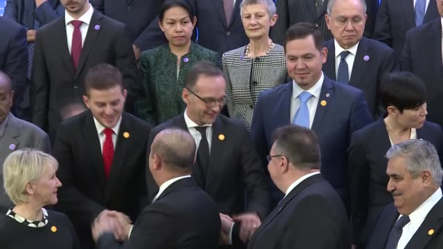 turkish foreign minister mevlut cavusoglu us secretary of state mike pompeo and participant ministers pose for a family photo during the opening... - participant stock videos & royalty-free footage