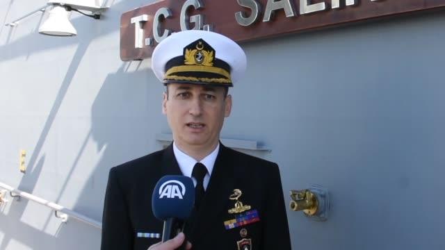 turkish frigate tcg salihreis admiral captain alper dogukanli speaks to the press regarding dynamic manta-2020 on february 25, 2020 in catania.... - practice drill stock videos & royalty-free footage