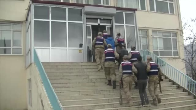 turkish gendarmeries escort three pkk terrorists who were arrested in izmir canakkale and istanbul on february 24 2019 in diyarbakir in a statement... - kurdistan workers party stock videos & royalty-free footage