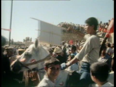 1979 UPITN S E TURKEY Mardin CBV Former Opp ldr Suleyman Demiril haranguing crowd below Ankara Courtroom CMS Bulent Ecevit S11079 UPITN S E TURKEY...