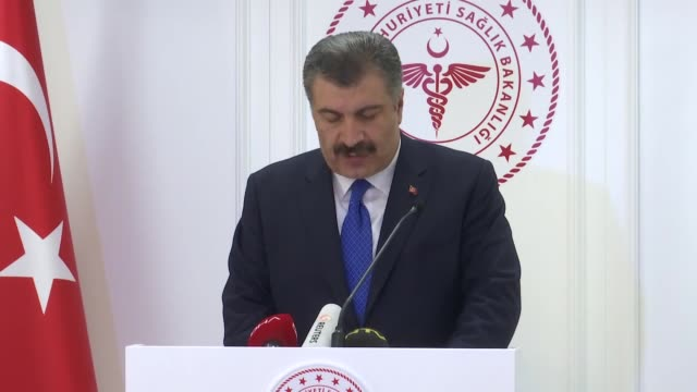 turkish health minister fahrettin koca delivers his speech during a press conference on first death from the coronavirus, in ankara, turkey on march... - press conference stock videos & royalty-free footage