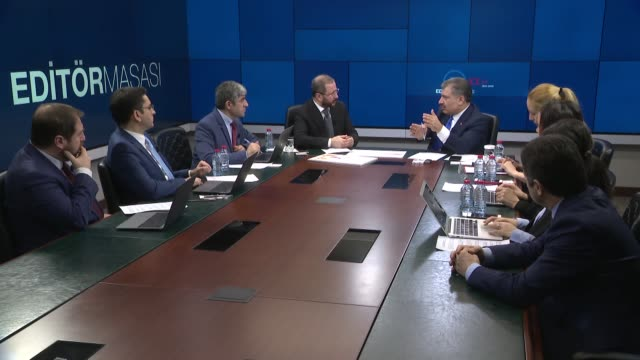 turkish health minister fahrettin koca speaks at anadolu agency's editors' desk during a discussion focusing on coronavirus outbreak and efforts to... - mashhad stock videos & royalty-free footage