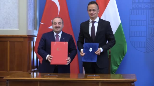 turkish industry and technology minister mustafa varank and hungarian minister of foreign affairs and trade peter szijjarto attend the 6th term... - eastern european culture stock videos & royalty-free footage