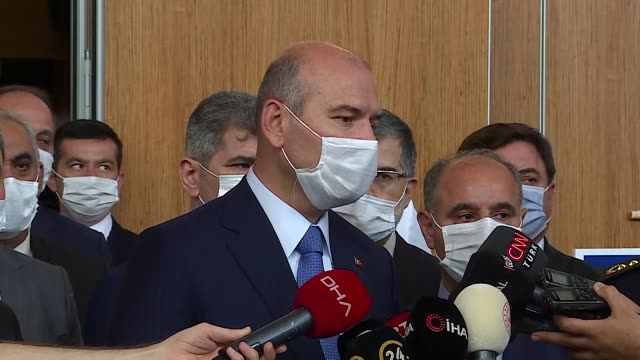 "turkish interior minister suleyman soylu called on europe to ""warn and give a lesson"" to greece over its latest human rights violation of opening... - allarme di prova video stock e b–roll"