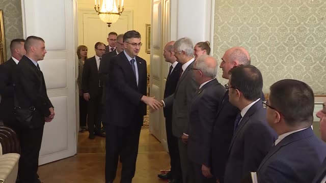 turkish interior minister suleyman soylu meets with croatian prime minister andrej plenkovic in zagreb croatia on july 08 2019 - zagreb stock videos and b-roll footage