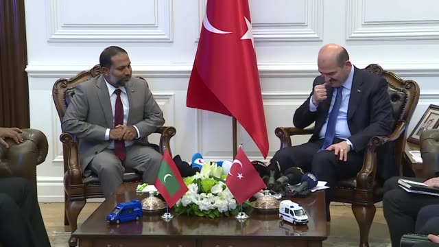 turkish interior minister suleyman soylu meets with his maldivian counterpart imran abdulla on december 05 2019 in ankara then the pair held a joint... - indian politics stock videos & royalty-free footage