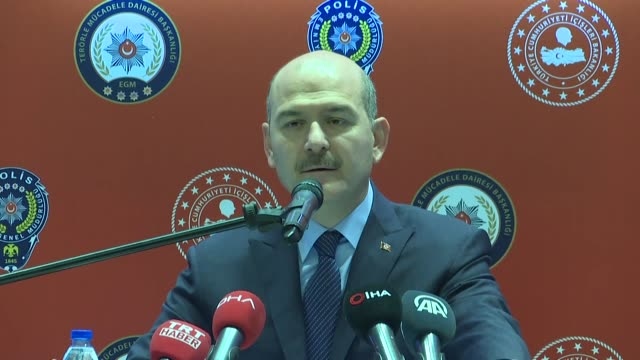 turkish interior minister suleyman soylu speaks at a workshop on counterterrorism on december 19 2018 in ankara turkey soylu pointed out that the... - counter terrorism stock videos & royalty-free footage
