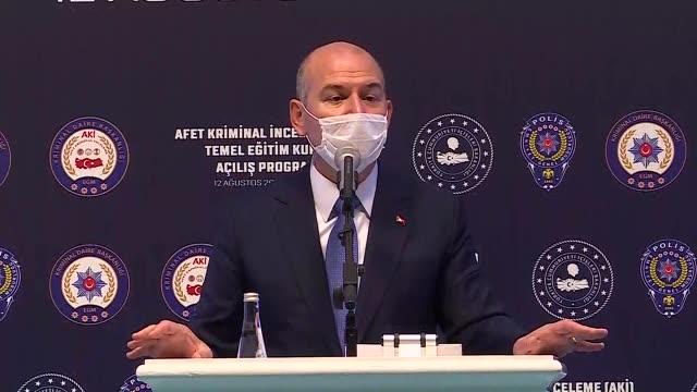 vídeos de stock e filmes b-roll de turkish interior minister suleyman soylu speaks at an inauguration ceremony in the capital ankara on august 12, 2020. a new anti-terrorism operation... - 12 15 meses