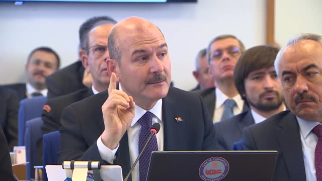 turkish interior minister suleyman soylu speaks at parliament's planning and budget commission on november 15 2018 in ankara turkey turkish security... - {{ contactusnotification.cta }} stock videos & royalty-free footage