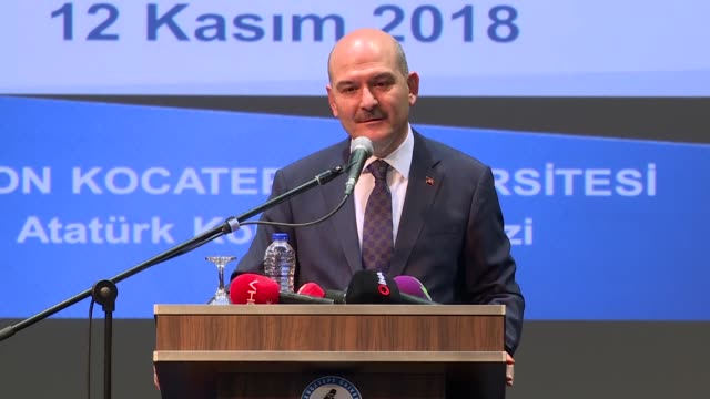 turkish interior minister suleyman soylu speaks at the academic year opening ceremony of afyon kocatepe university in western afyon province of... - security equipment stock videos & royalty-free footage