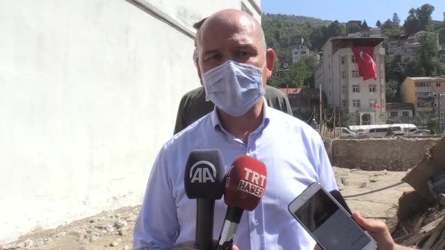 turkish interior minister suleyman soylu speaks to the press in giresun on september 01, 2020 after turkey has remanded a senior member of daesh/isis... - government minister stock videos & royalty-free footage