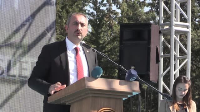 """Turkish Justice Minister Abdulhamit Gul speaks during an event in Adana southern Turkey on October 14 2017 """"Metin Topuz who was arrested on charges..."""