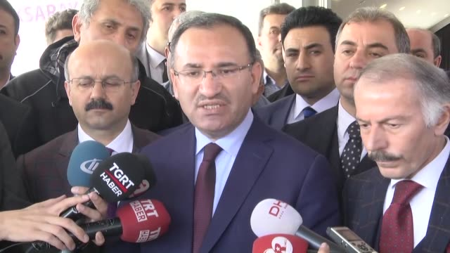 Turkish Justice Minister Bekir Bozdag condemns boycott of Daily Sabah by European Parliament president in Istanbul Turkey on March 24 2017 The...