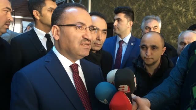 turkish justice minister bekir bozdag european union court's decision about headscarf in yozgat, turkey on march 15, 2017. turkish justice minister... - religious symbol stock videos & royalty-free footage