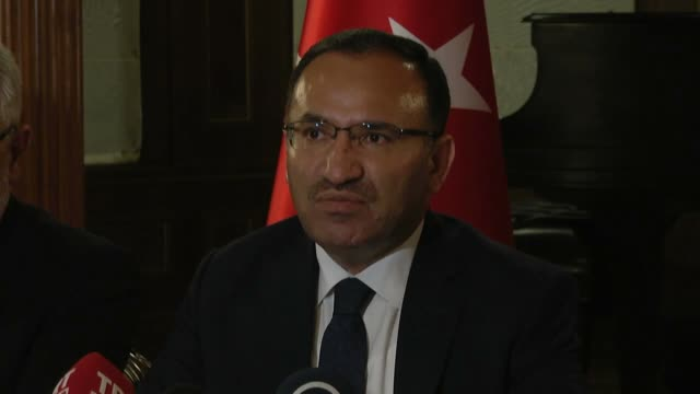 Turkish Justice Minister Bekir Bozdag holds a press conference at the Turkish Embassy in Washington on October 26 2016 after meeting with US Attorney...
