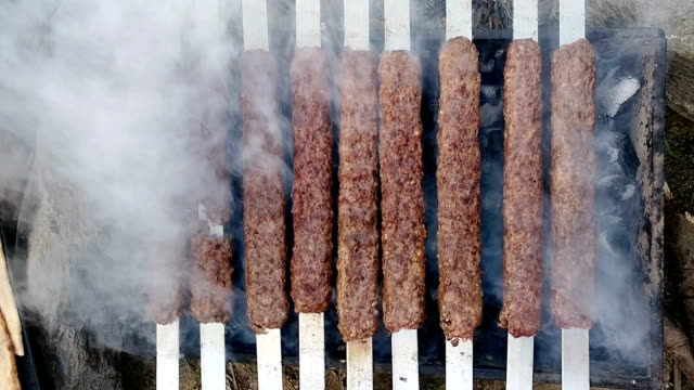 turkish kebab barbecue grill with smoke - kebab stock videos and b-roll footage