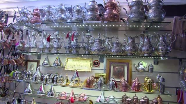 stockvideo's en b-roll-footage met turkish memorabilia shop - suikerpot