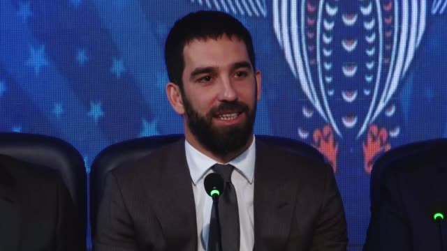 Turkish midfielder Arda Turan and Basaksehir Chairman Goksel Gumusdag attend a press conference in Istanbul Turkey on January 15 2018 Turkish...