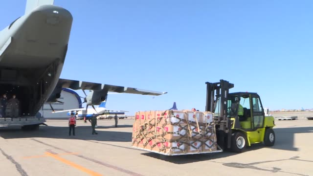 turkish military aircraft carrying medical supplies, which departed from the capital ankara for azerbaijan to help fight the pandemic, arrives in... - capital letter点の映像素材/bロール