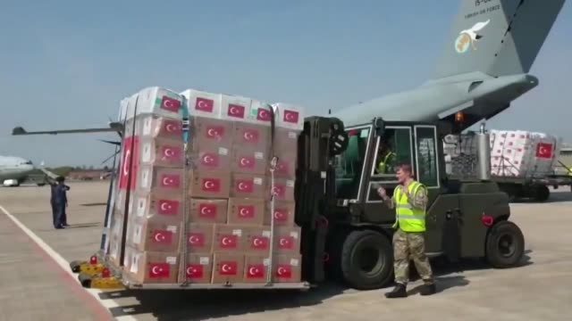 turkish military cargo plane carrying medical supplies to assist the u.k.'s fight against the coronavirus pandemic landed in london, the turkish... - turkey middle east stock videos & royalty-free footage