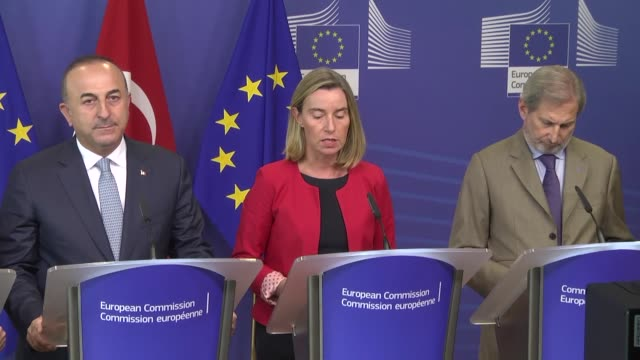turkish minister for eu affairs omer celik turkish foreign minister mevlut cavusoglu the high representative of the european union for foreign... - europäische kommission stock-videos und b-roll-filmmaterial