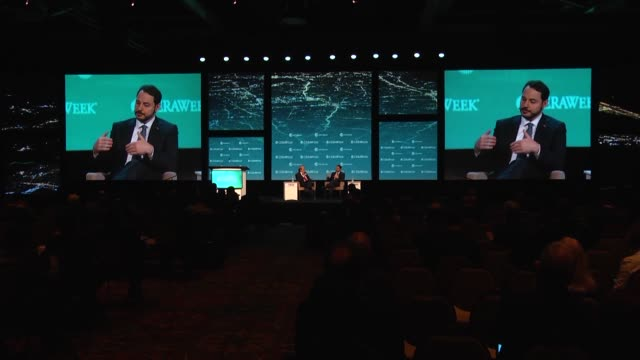 turkish minister of energy and natural resources berat albayrak attend the cera week energy conference 2017 by ihs markit in houston texas united... - energy efficient lightbulb stock videos and b-roll footage