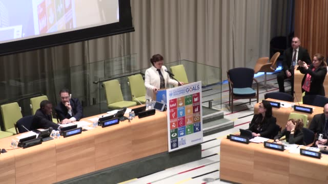 turkish minister of environment and urbanization fatma guldemet sari delivers a speech during a meeting of sustainable development goals meeting at... - united nations stock videos & royalty-free footage