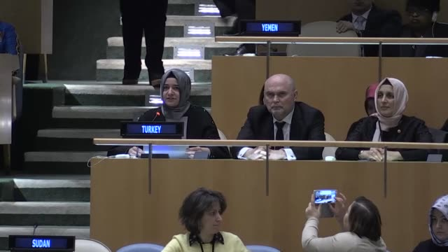 turkish minister of family and social policies, fatma betul sayan kaya delivers a speech during the united nations general assembly meeting on... - united nations general assembly stock videos & royalty-free footage