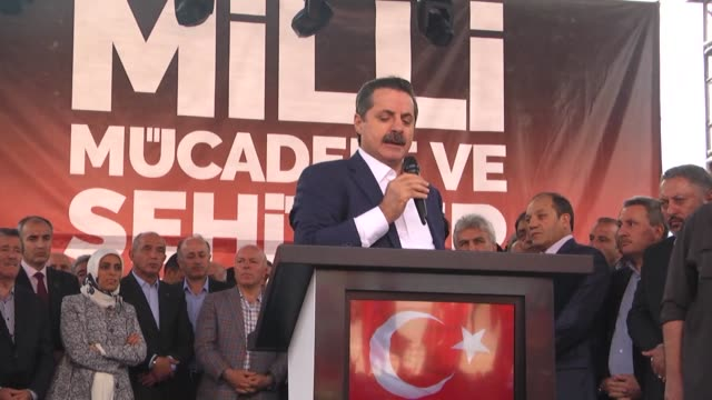 "turkish minister of food agriculture and livestock faruk celik addresses to crowd during ""democracy and martyrs' rally"" held to protest against the... - konya stock videos and b-roll footage"