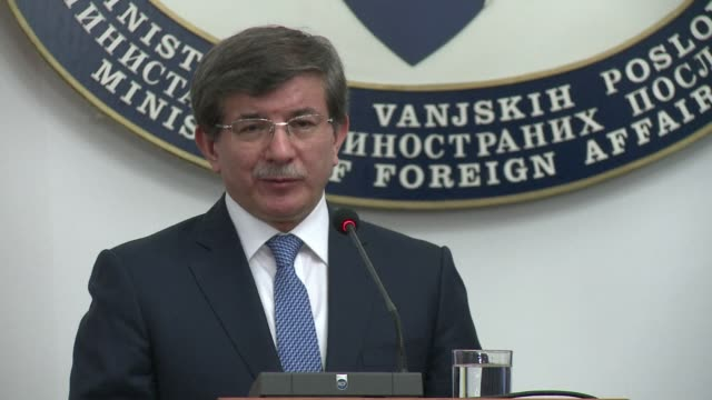 turkish minister of foreign affairs ahmet davutoglu called wednesday for the eu and nato to speed up the implementation of closer ties with bosnia to... - yugoslav wars stock videos & royalty-free footage