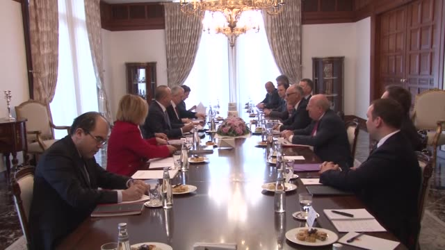 stockvideo's en b-roll-footage met turkish minister of foreign affairs mevlut cavusoglu meets with crispin blunt chair of foreign affairs committee of house of commons of british... - house of commons
