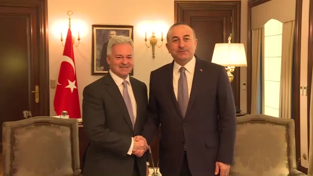 turkish minister of foreign minister mevlut cavusoglu meets with alan duncan minister for europe and the americas fo the united kingdom in ankara... - alan duncan stock-videos und b-roll-filmmaterial