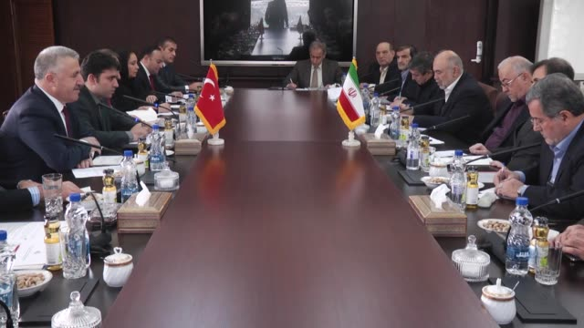 Turkish Minister of Transport Maritime and Communication Ahmet Arslan meets Iranian Minister of Communication Mahmoud Vaezi during his visit in...