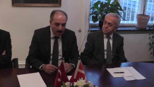 turkish mp and head of turkish parliament of commision of human rigths watch mustafa yeneroglu visits copenhagen denmark on december 25 2016 he also... - oresund region stock videos & royalty-free footage