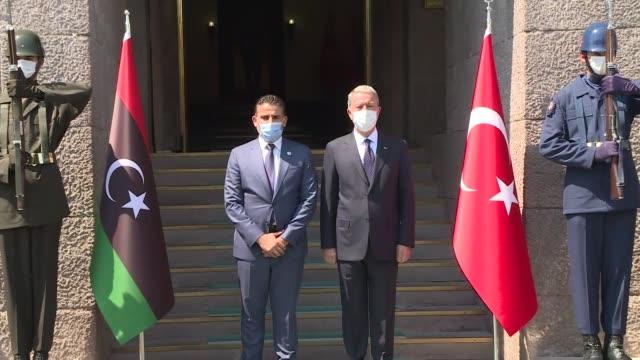 turkish national defence minister hulusi akar meets with libyan defense minister salah al-namroush on september 01, 2020 in ankara, turkey. - 政治と行政点の映像素材/bロール