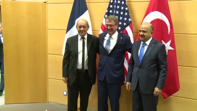 Turkish National Defense Minister Fikri Isik United States Secretary of Defense Ashton Carter and French Defense Minister JeanYves Le Drian meet...