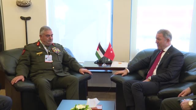 turkish national defense minister hulusi akar and chairman of jordan's joint chiefs of staff mahmoud freihat hold a meeting on the sidelines of the... - joint chiefs of staff stock videos and b-roll footage