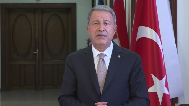turkish national defense minister hulusi akar and eu foreign policy chief josep borrell hold a meeting in ankara, turkey on july 06, 2020. turkey's... - vessel part stock videos & royalty-free footage