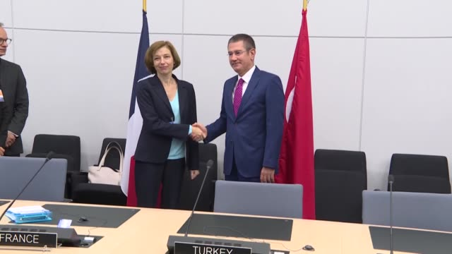 Turkish National Defense Minister Nurettin Canikli meets with French Defense Minister Florence Parly on the sidelines of the NATO defense ministers...