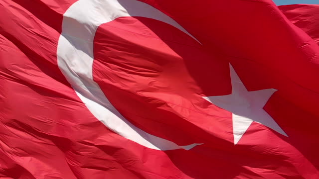 turkish national flag slow motion - turchia video stock e b–roll