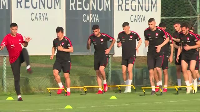 turkish national football team players attend a training led by head coach senol gunes on the eve of the international friendly match against greece... - senol guenes stock videos and b-roll footage